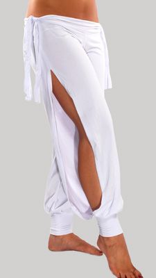 Comfortable Stretch Harem Pants with Side Ties & Slits in White at Bellydance.com