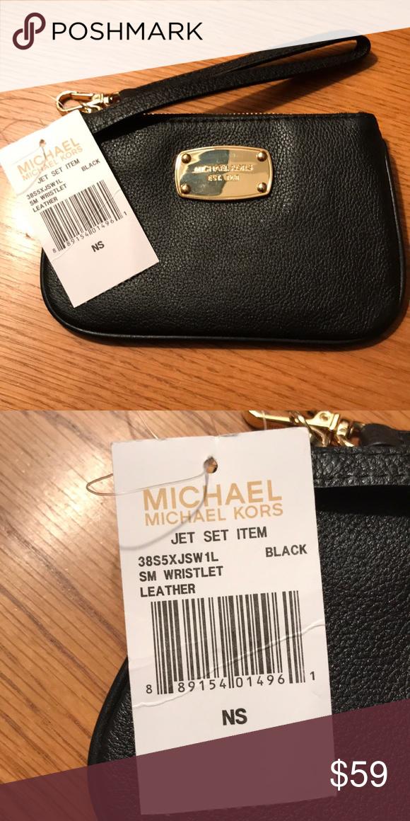 b032eeaa018e Michael Kors JetSet Small Leather Wristlet Michael Kors JetSet Small Black  Wristlet. Michael Kors Bags Clutches & Wristlets