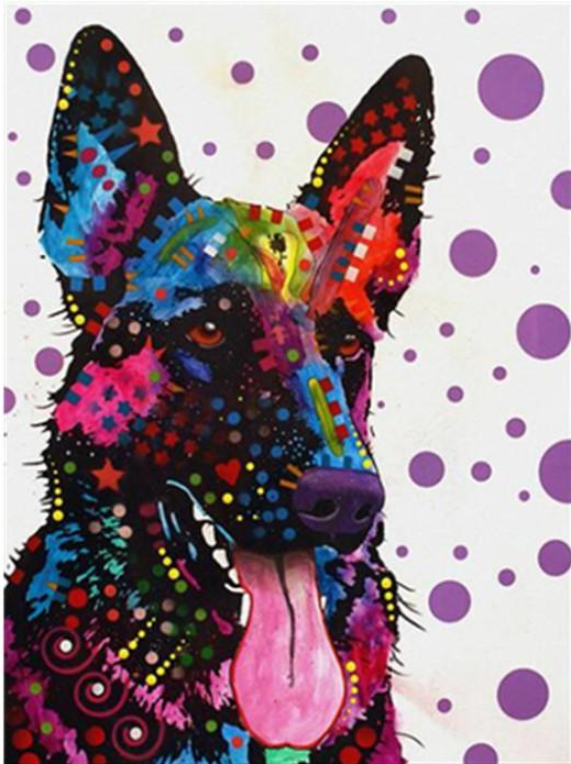 Color German Shepherd Round Diamond Painting German Shepherd Painting German Shepherd Art Dog Art