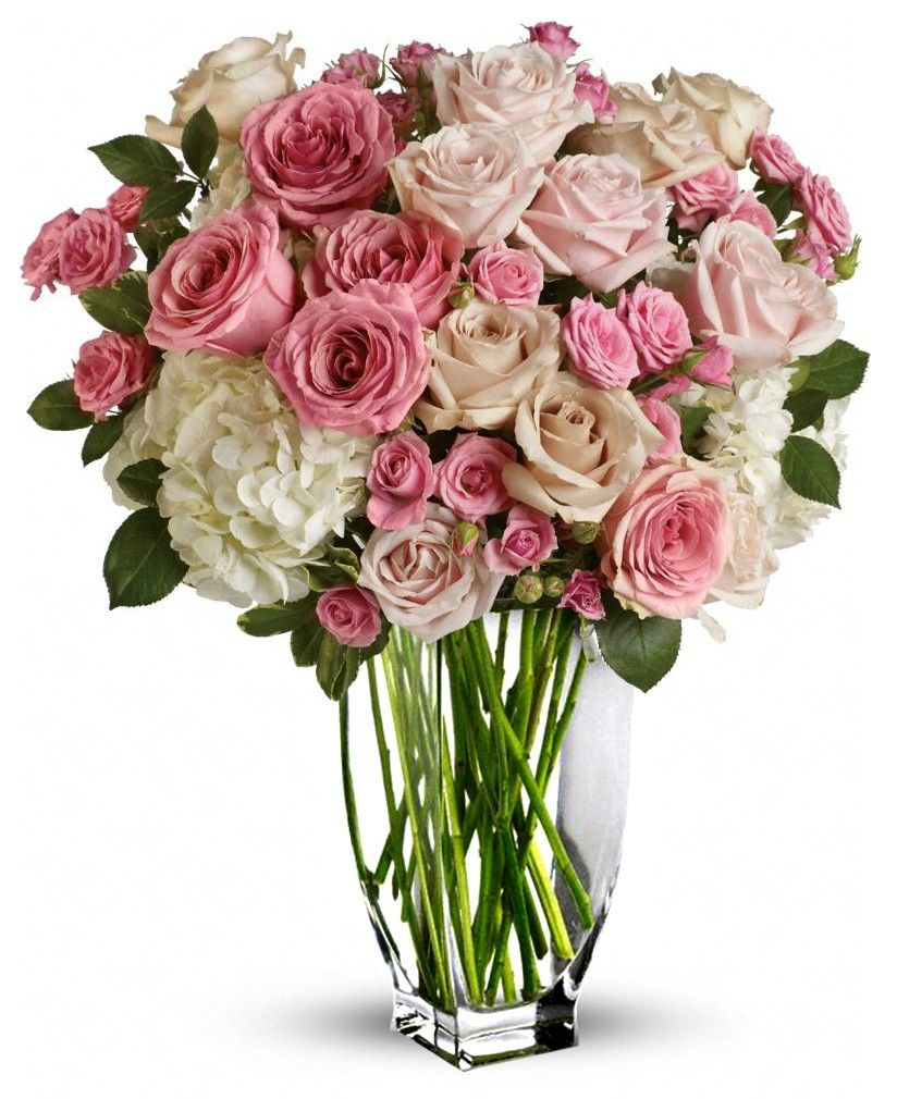 Happy Birthday Flowers Vase Roses White Background Pink And