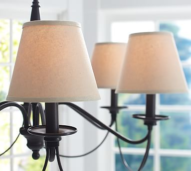 Dining Room Light Fixture   PB Basic Linen Chandelier Shade, Set Of 3  #potterybarn