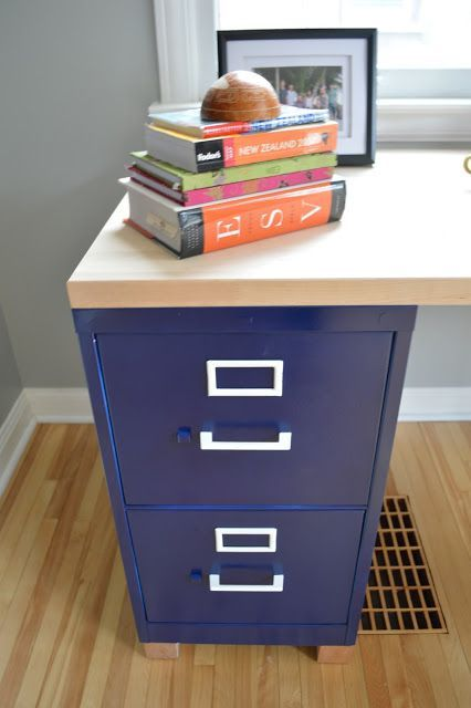 Homemade Desk : 2 Ugly Filing Cabinets Painted Navy Blue With White Accents  + 6 Foot