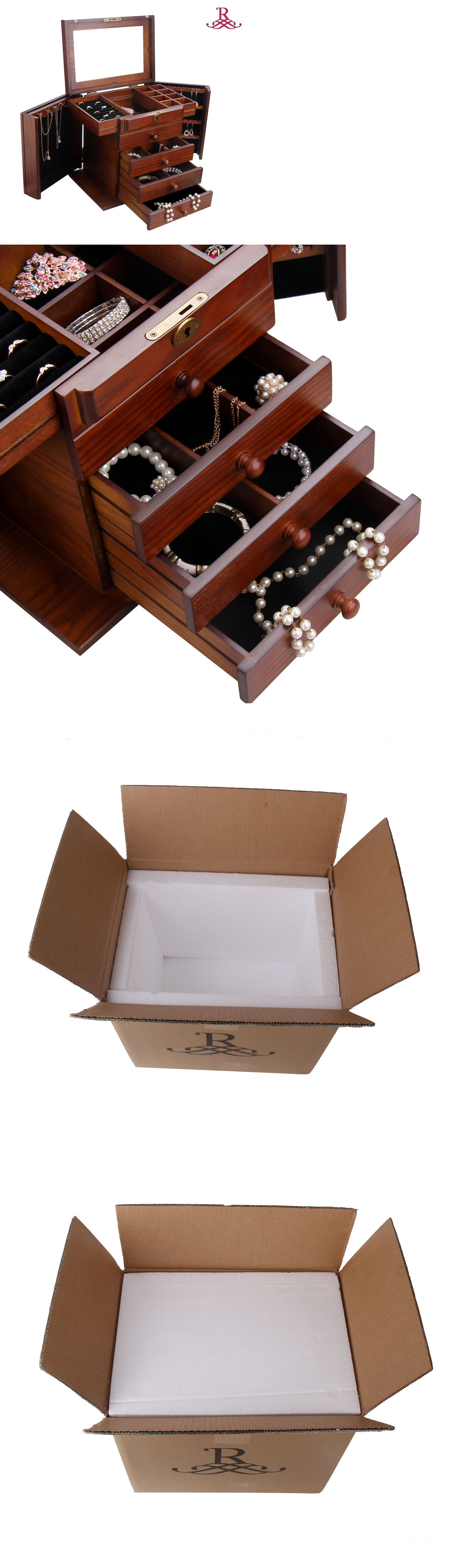 Jewelry Boxes 3820 Wooden Jewelry Box Cabinet Armoire Ring