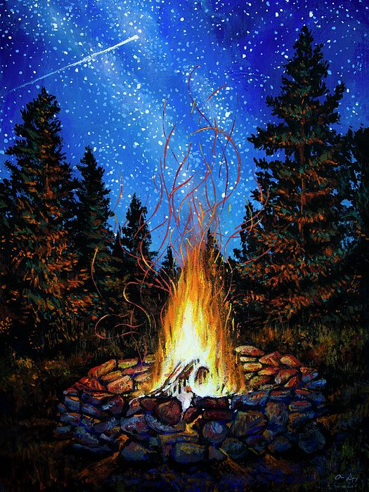 True Luxury : Campfire under the stars painting by Aaron ... Campfire Painting