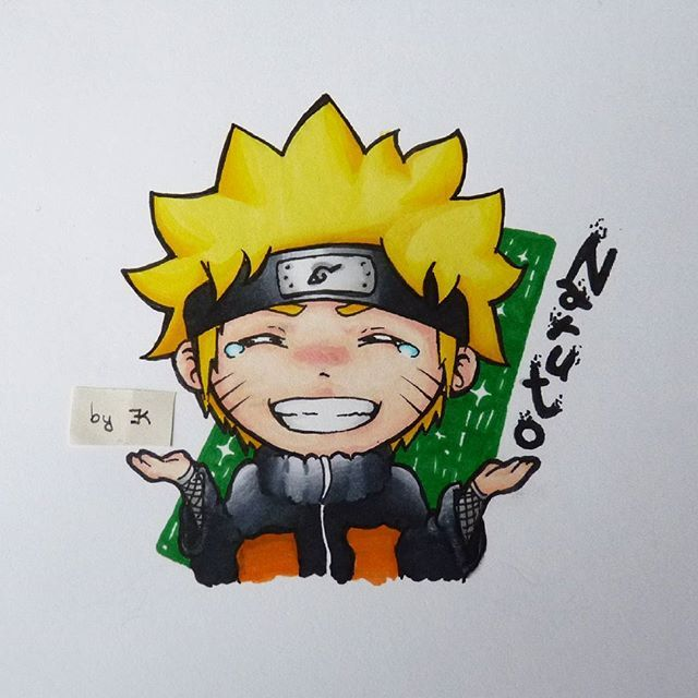 Cute Chibi Naruto Drawing By Ekkka Art With Their Chameleon