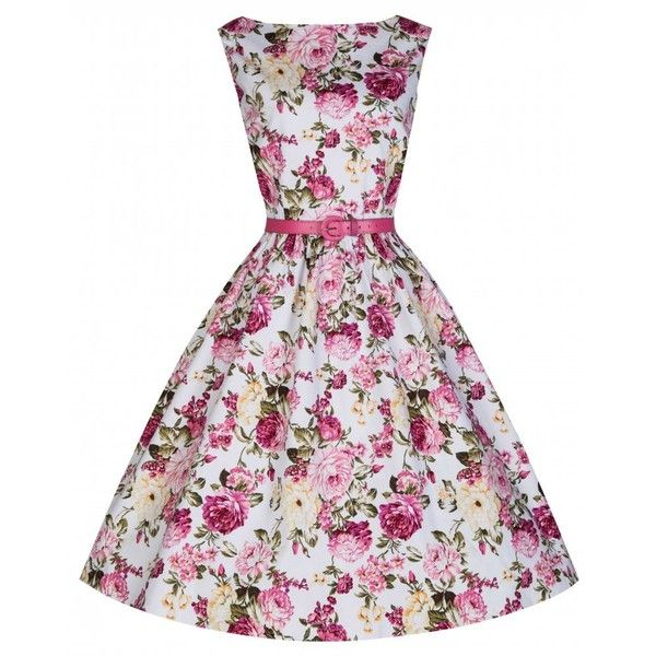 'Audrey' Pink Rose Print Swing Dress (200 RON) ❤ liked on Polyvore featuring dresses, purple, short dresses, pink, white skater skirt, pink skater skirt, white cocktail dresses, purple skater skirt and skater skirt