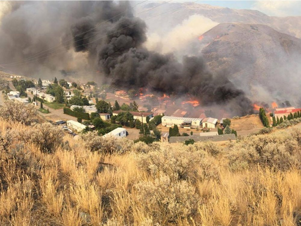 Boston Flats trailer Park near Cache Creek Being engulfed