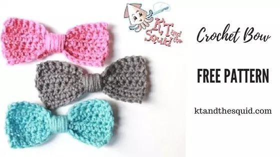 Free Crochet Bow Pattern #crochetbowpattern Free Crochet Bow Pattern - KT and the Squid #crochetbowpattern