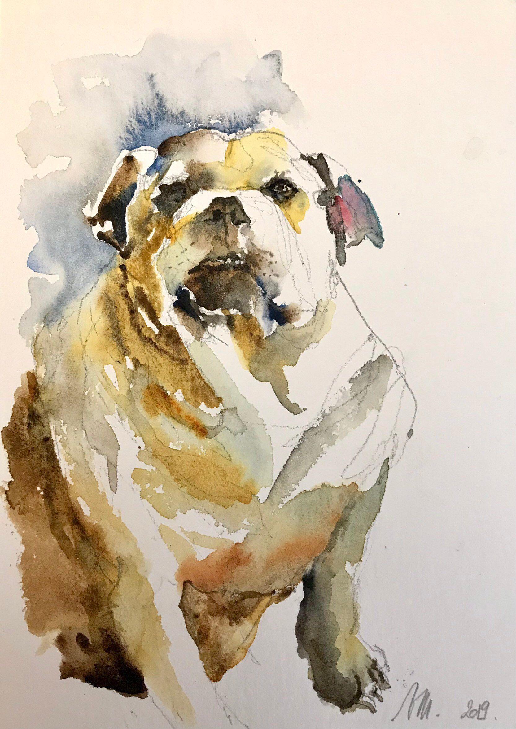 J Ai Le Plaisir De Vous Presenter Cet Article De Ma Boutique Etsy Aquarelle Peinture Originale Le Bulldog Anglais Wa Comment Peindre Dessin Chien Dessin