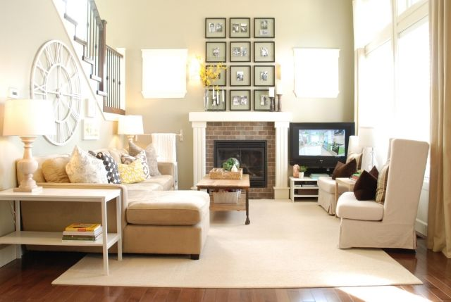 kleines-wohnzimmer-neutrale-farben-fernseher-ecke-kaminofen - wohnideen kleine wohnzimmer