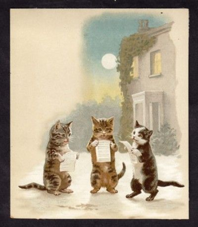 Helena Maguire Caroling Cats Victorian Trade Card Machine Works Lancaster Pa 03 06 2013 Cat Art Cats Cute Cats And Kittens