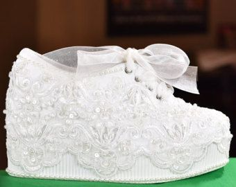 Bridal Sneakers Etsy Wedding Shoes Platform Fun Wedding Shoes