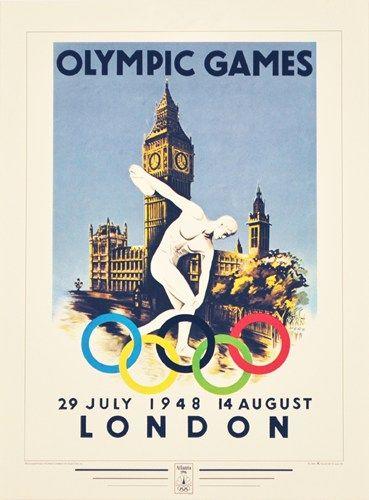 London 1948 Olympic Games Art Print Jeux Olympiques Histoire En Images Affiche Vintage