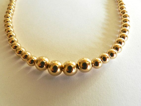 Stunning 14k Solid Yellow or White Gold ball bead necklace by