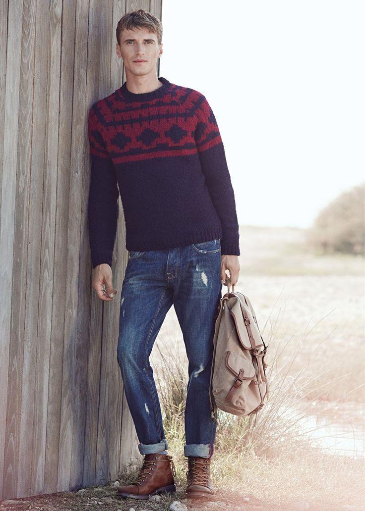 Men's Navy Fair Isle Crew-neck Sweater, Navy Jeans, Dark Brown ...