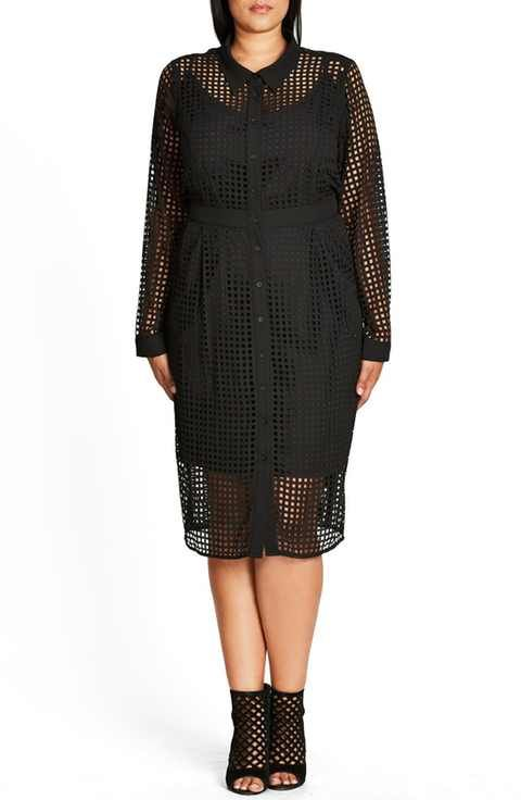 City Chic Flicker Grid Cut Shirtdress (Plus Size)