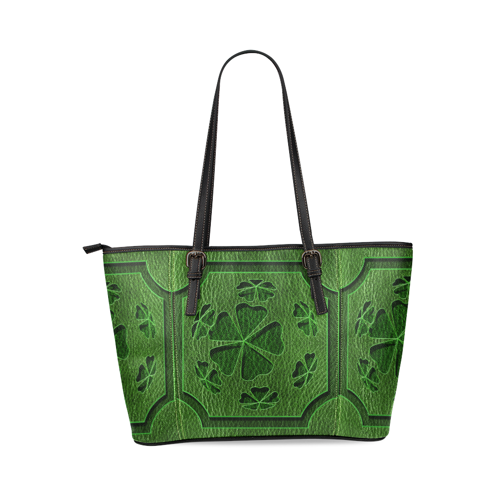 Leather-Look Irish Cloverball Leather Tote Bag/Large (Model 1640)