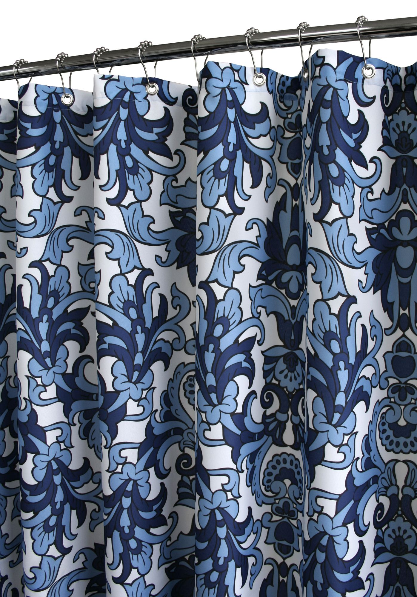 Watershed Rococo Scroll Shower Curtain In Porcelain Blue White