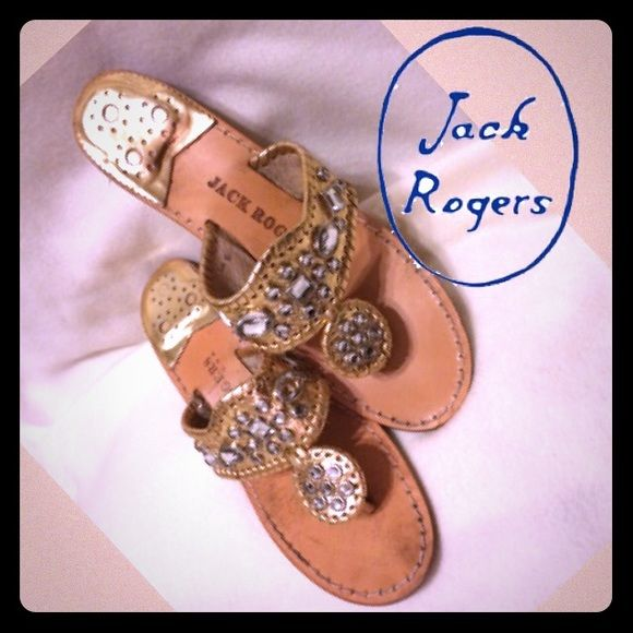 """Jack Rogers """"Zsa Zsa"""" Bejeweled Wedge Sandals  8M Jack Rogers """"Zsa Zsa"""" Bejeweled Wedge Thong Sandal. Glamorous rhinestones bring a new twist to the Jack Rogers classic whipstitched sandal. Clear rhinestones adorn whipstitch-trimmed metallic leather upper. 1 1/2"""" wedge heel. Made in USA. Excellent condition. Sz 8M Jack Rogers Shoes Sandals"""