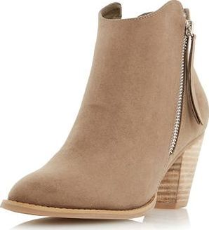 edcd4932e726 Dorothy Perkins Womens Head Over Heels Patel Taupe Ankle Boots- Features a  mid block heel