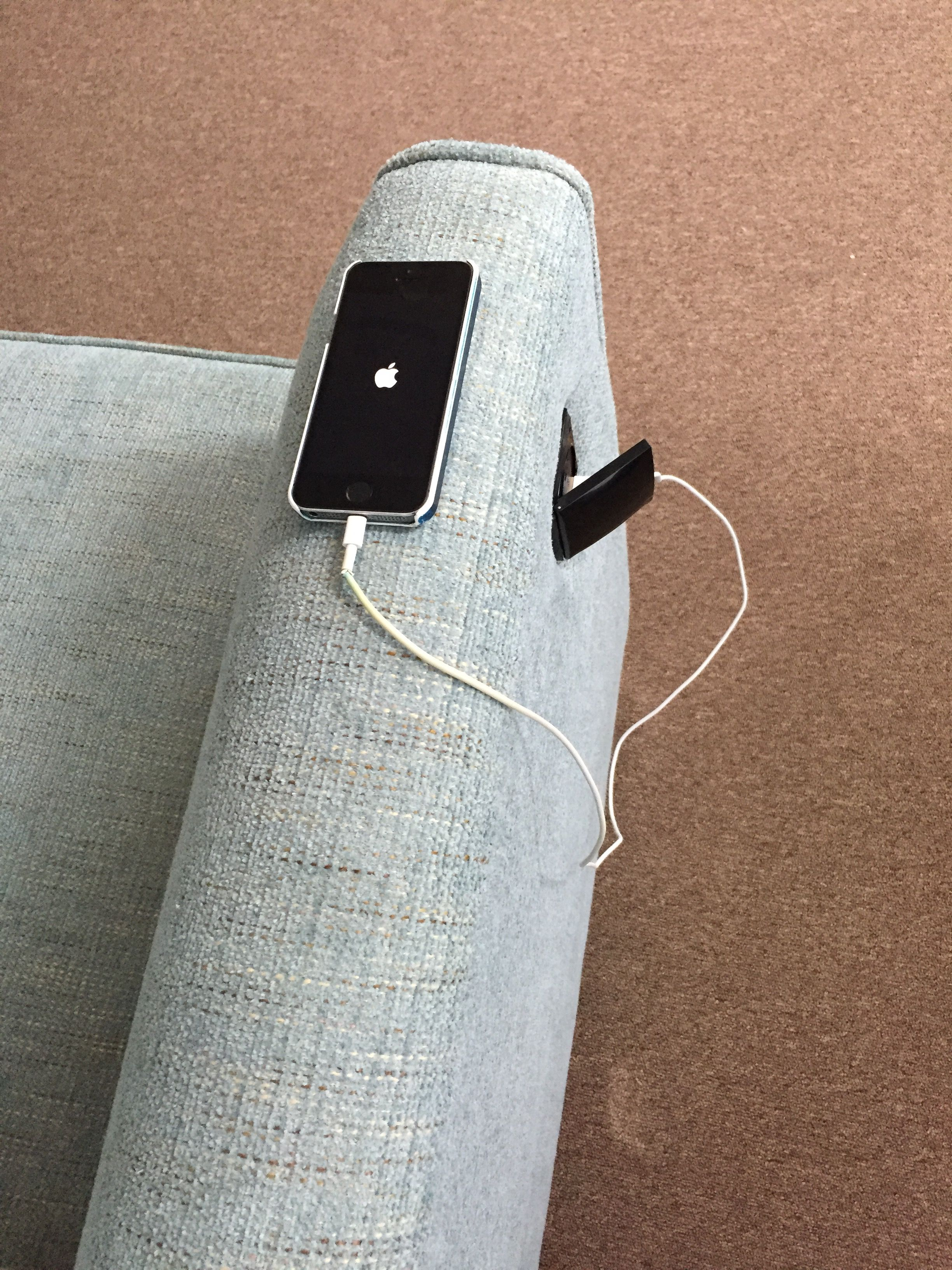 Sofa which incorporates a USB charger so you can charge your phone