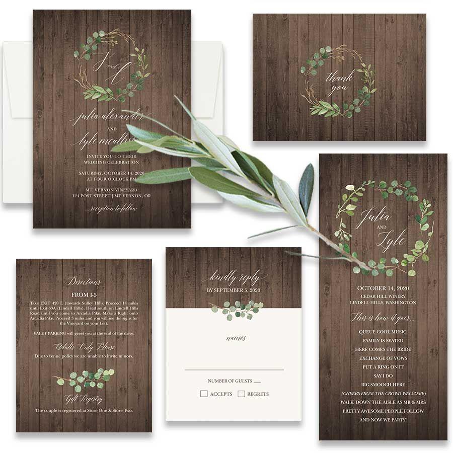 Rustic Wedding Invitations Vineyard Greenery Inspired In