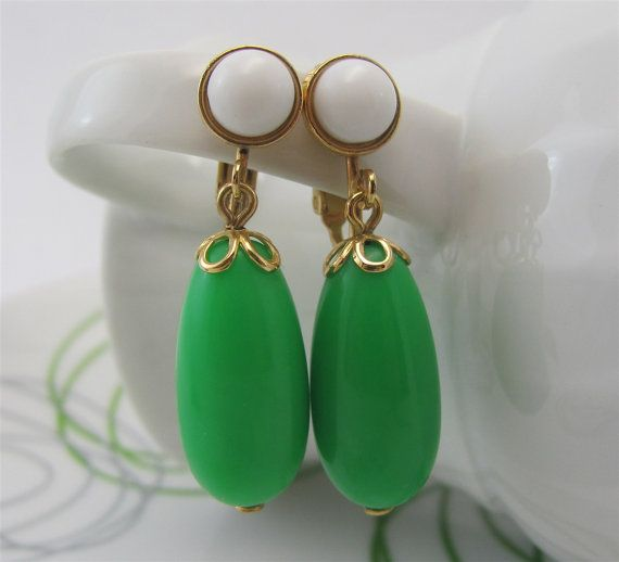 Vintage AVON earrings green plastic drop beads by GonzalezGoodies, $8.00