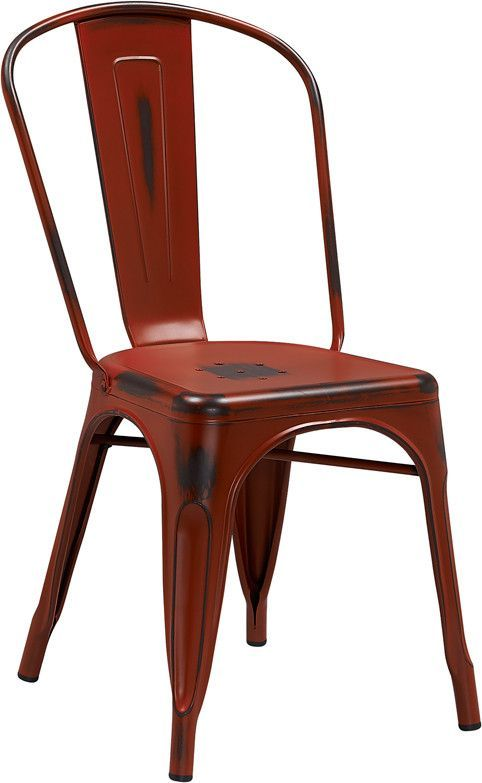 Flash Furniture Distressed Kelly Red Metal Indoor Stackable Chair