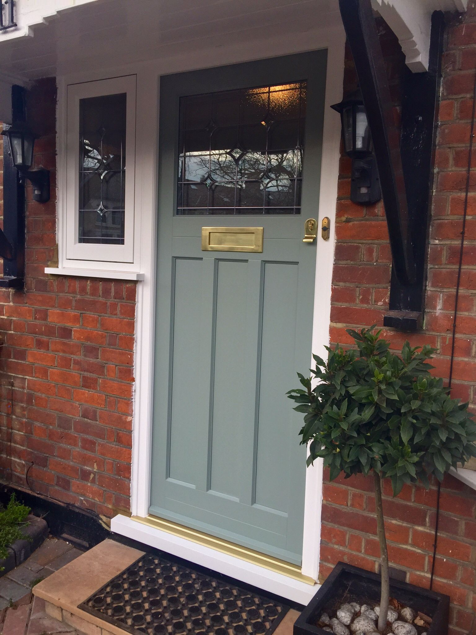 1930u0027s Style Timber Entrance Door Painted Farrow And Ball Castle Grey And  Fitted With Brass Samuel Heath Ironmongery.