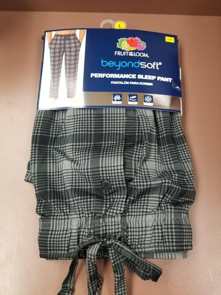 4b6d05c3f39 Fruit of the Loom Men s Beyond Soft Performance Sleep Pants Size Large NEW  Plaid  fashion