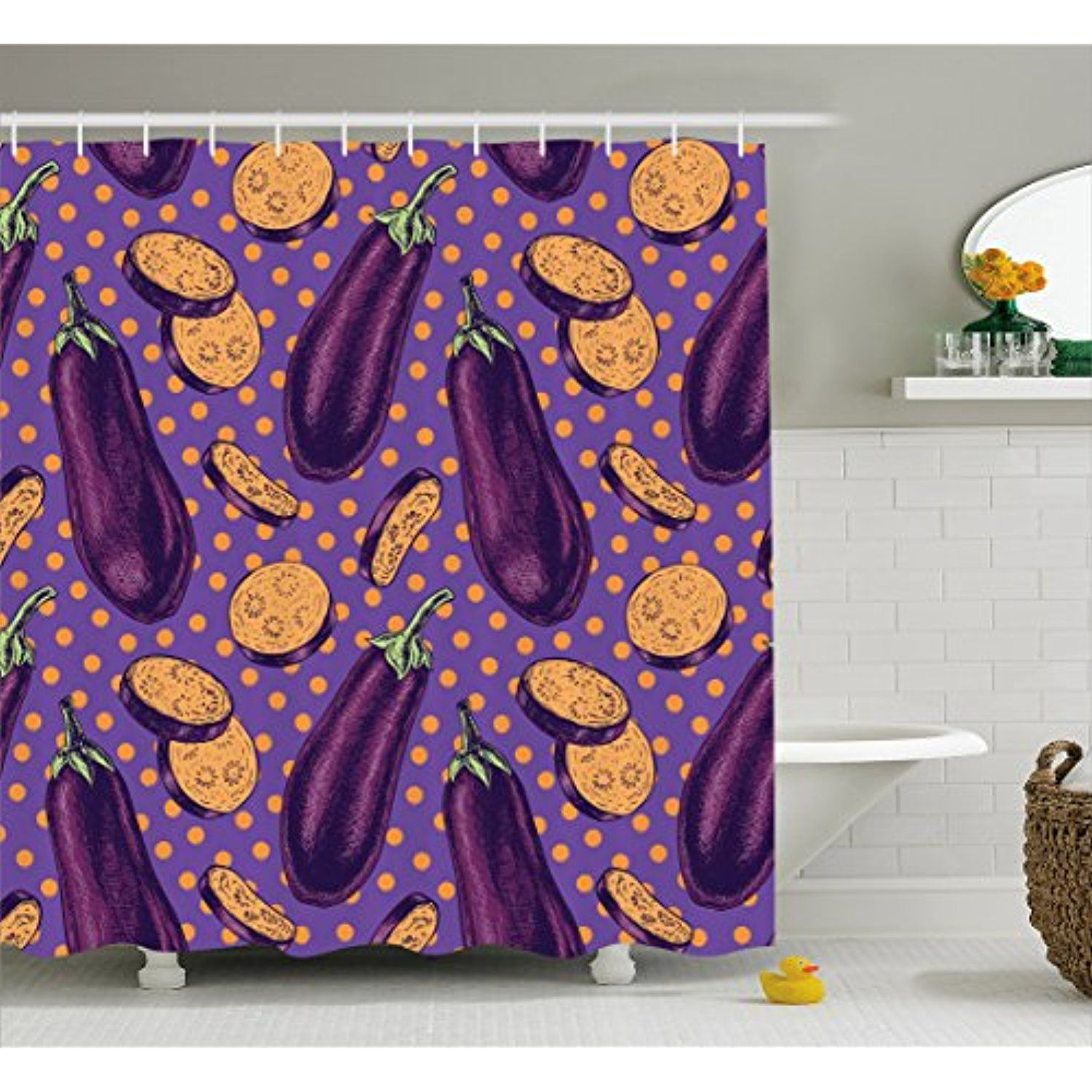 Eggplant Shower Curtain By Ambesonne Realistic Looking Eggplants With Eighties Inspired And Dotted Purple Bac Bathroom Decor Sets Ambesonne Purple Backgrounds
