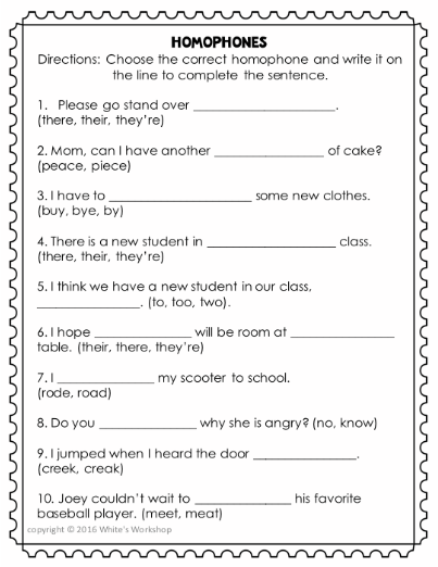 Students Can Practice Tricky Homophones With This Print
