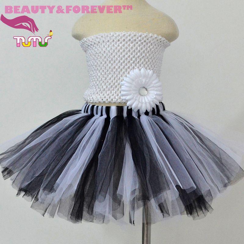 Fluffy Tulle Kids Tutu Skirt Black White For Girls 1T 8T Hi Mommy
