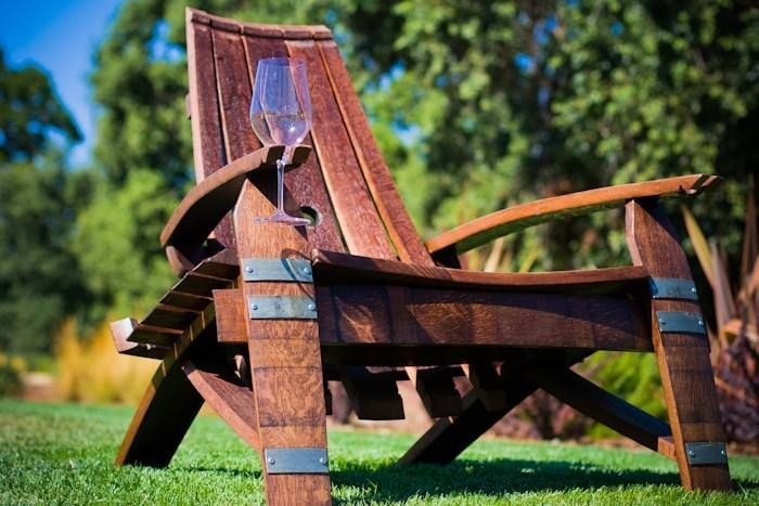 Wine Barrel Adirondack Chair With Gl Holder
