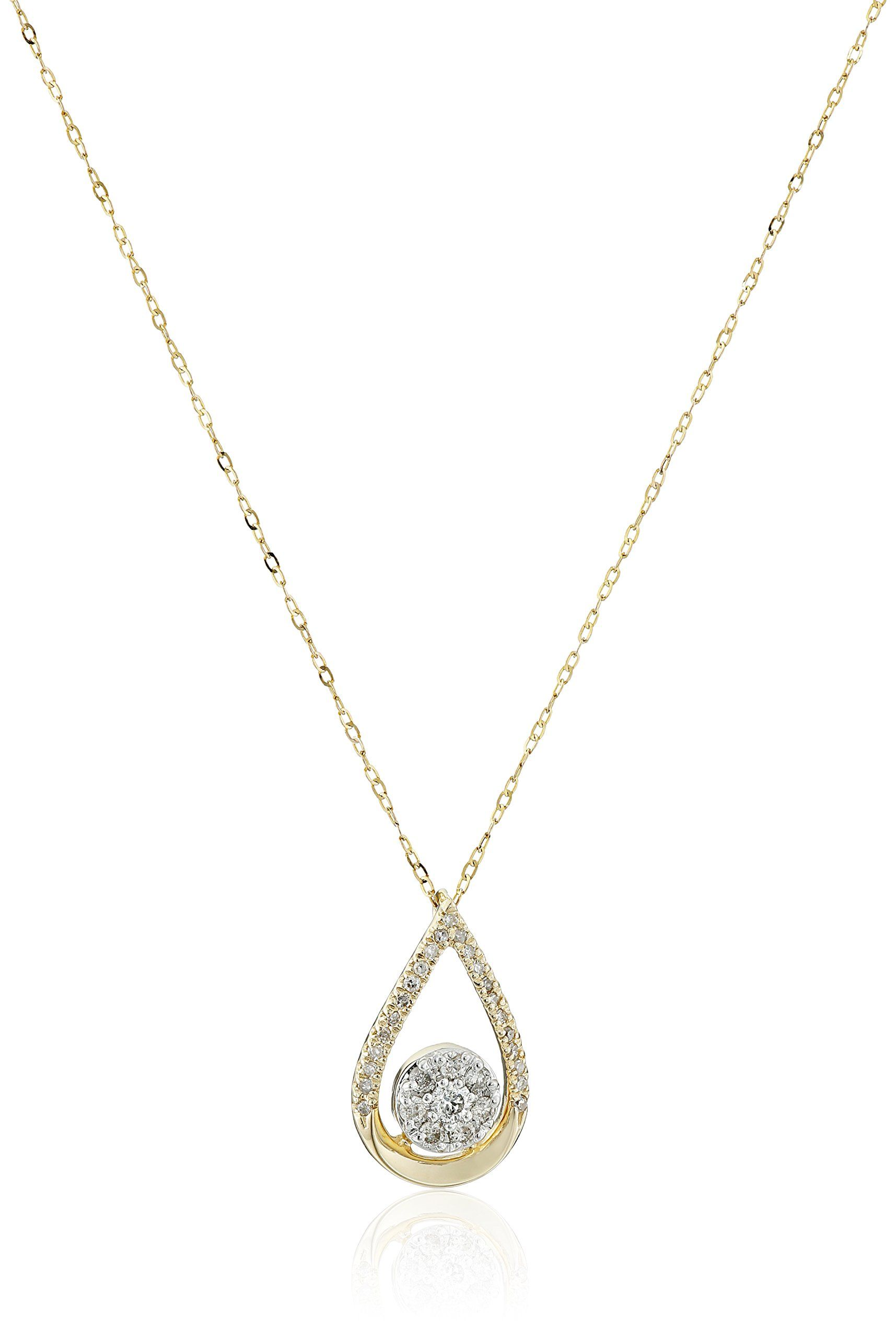 K yellow gold pear shape with pave diamond center necklace