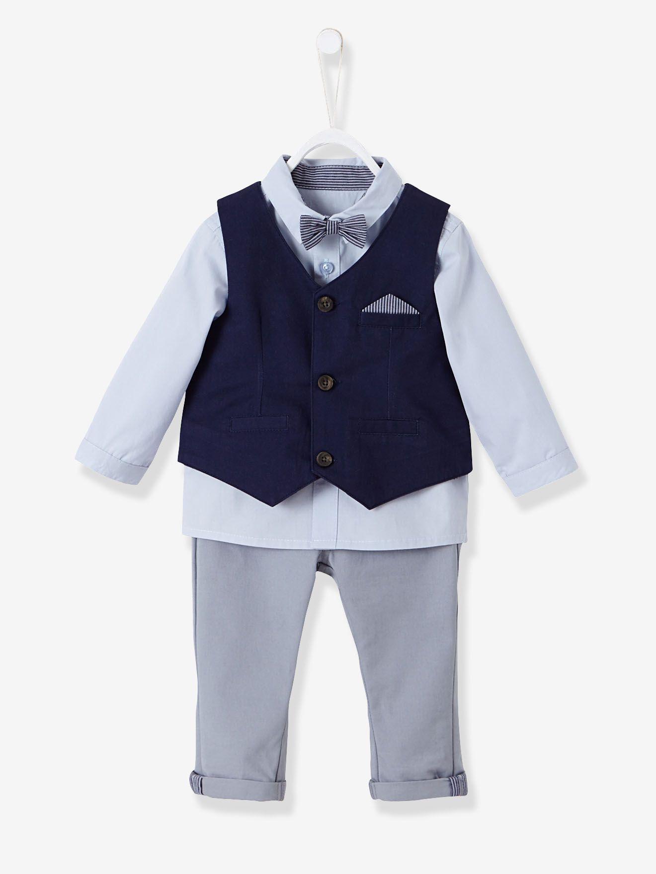 vertbaudet baby jungen, festliches anzug-set, 4 teile in