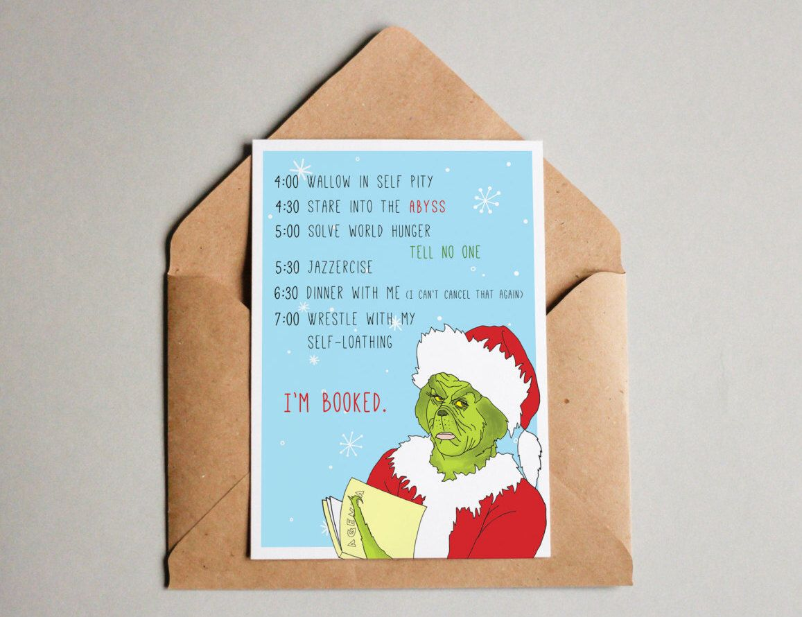 Grinch christmas card holiday greeting card funny christmas card grinch christmas card holiday greeting card funny christmas card card for best friend kristyandbryce Gallery