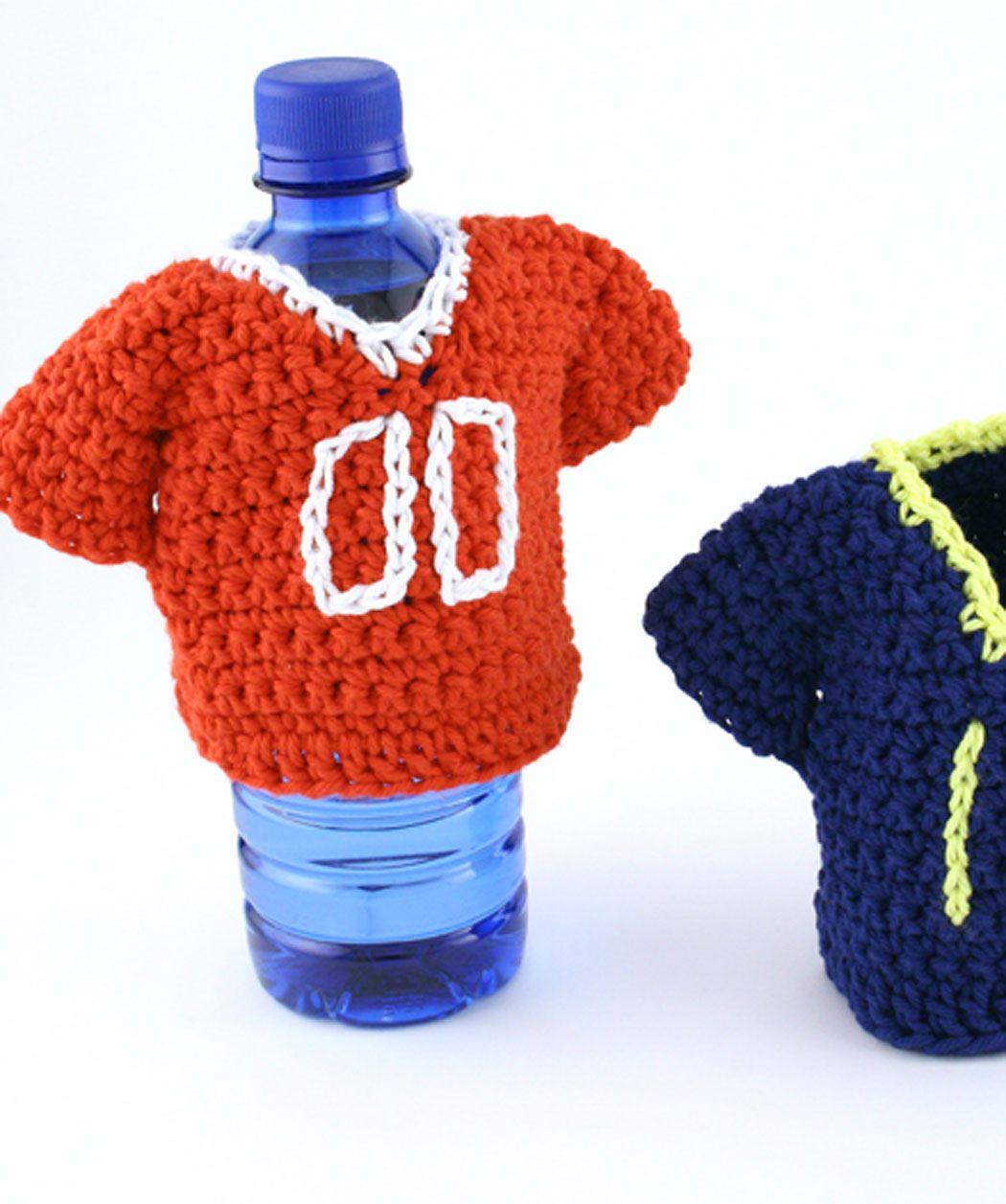 Team Jersey Bottle Coozy Free Crochet Pattern from Red Heart Yarns ...