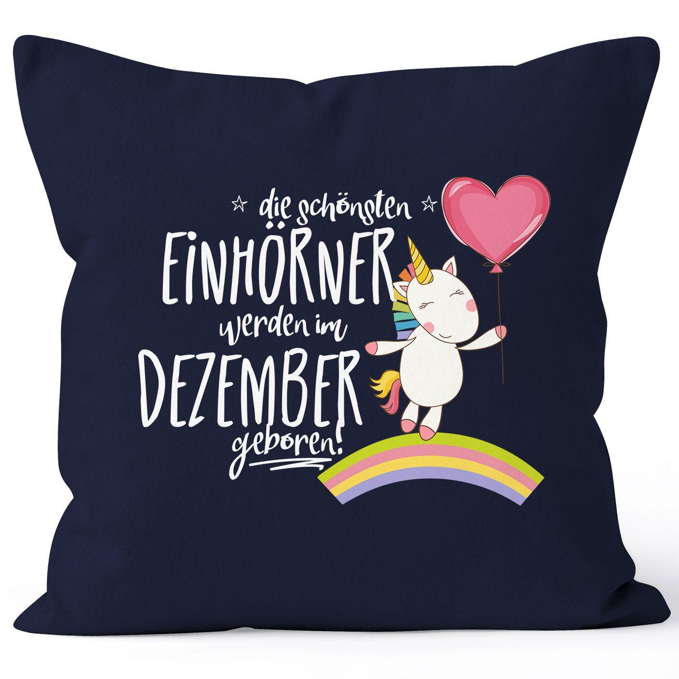 Kissenbezug die schönsten Einhörner werden im Dezember geboren Kissen-Hülle Deko-Kissen 40x40  Baumwolle MoonWorks®