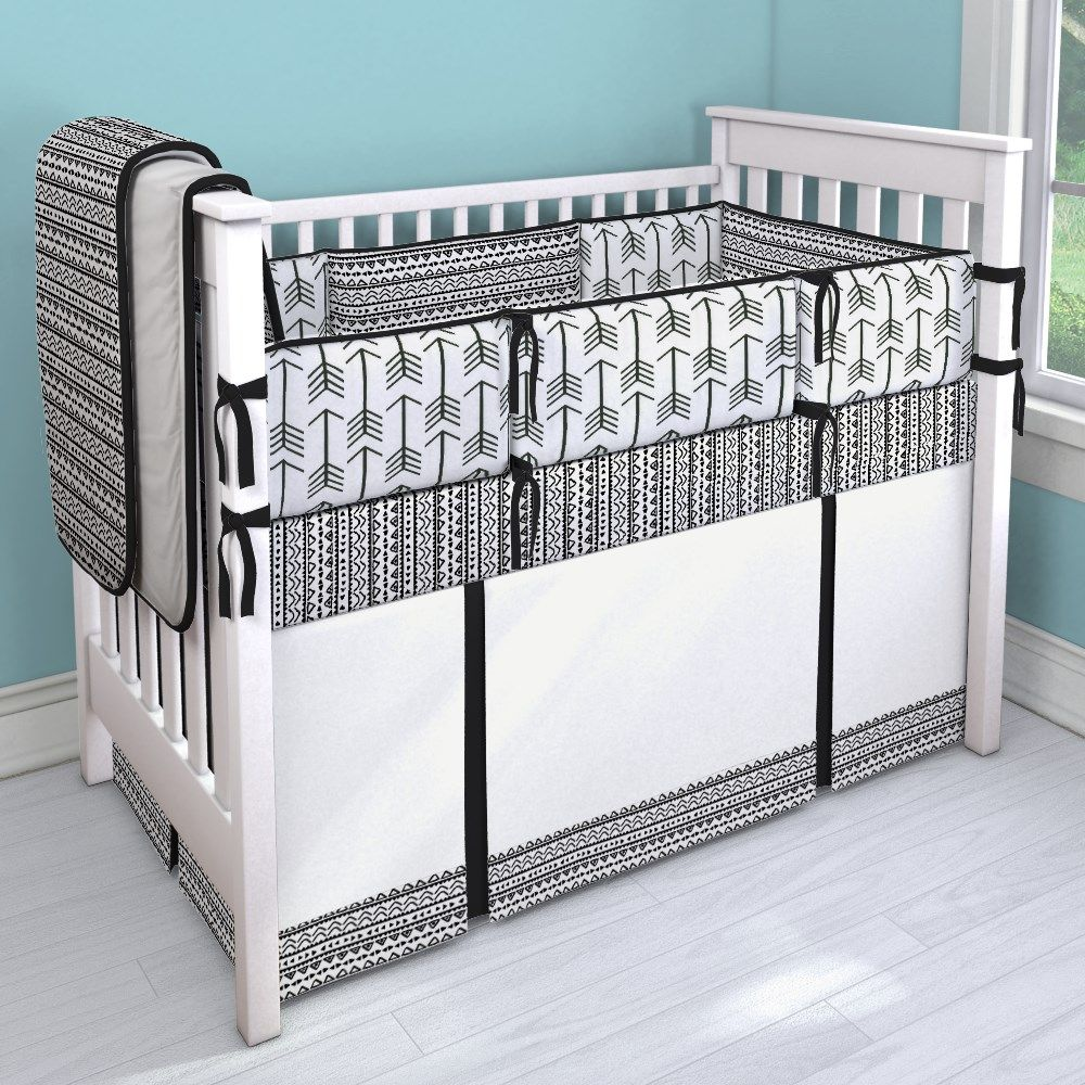 black and white tribal nursery idea | customizable crib bedding