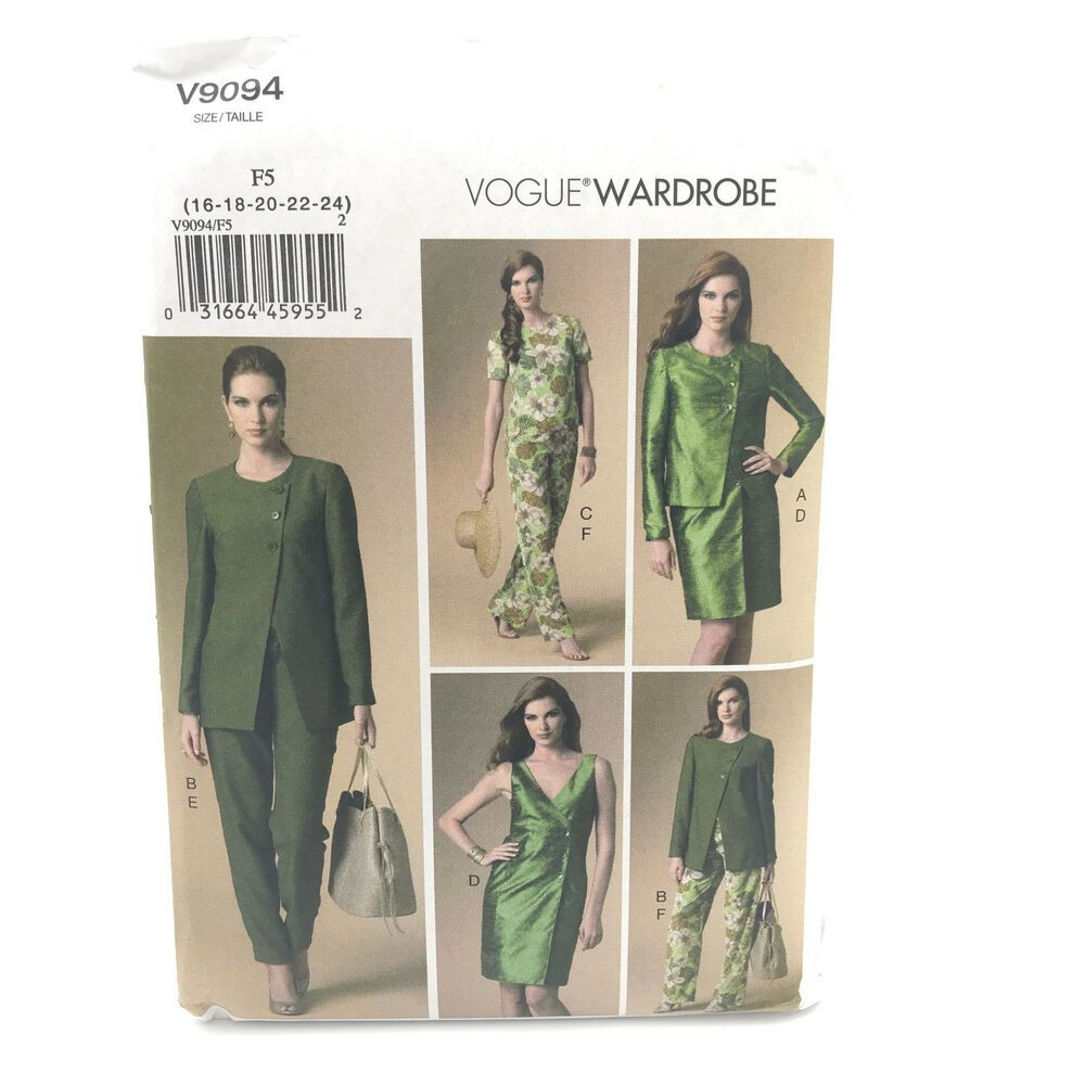 Vogue 9094 Misses Plus Size Jacket Top Dress Pants 16 24 ...