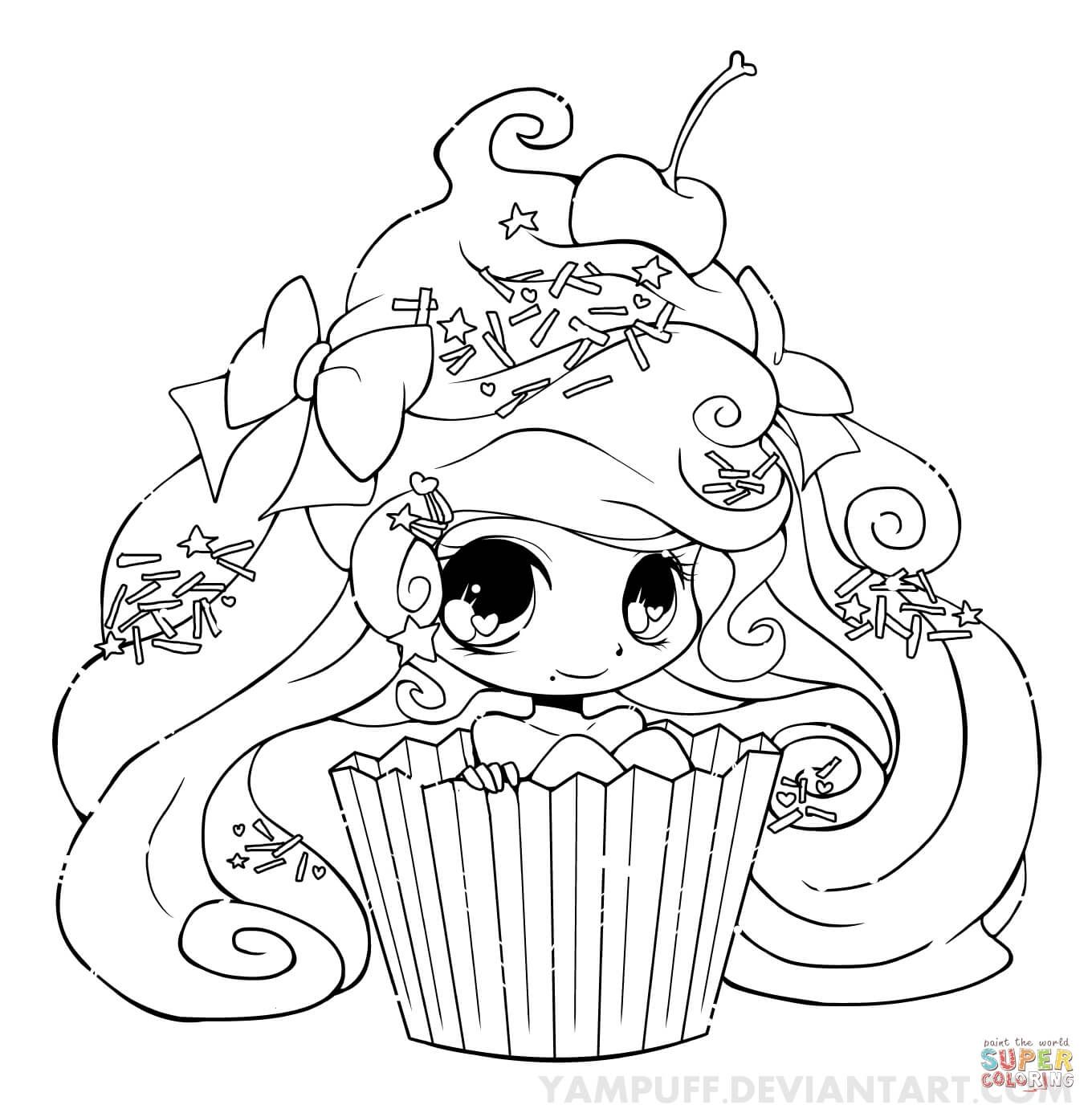 Chibi Cupcake Girl Coloring Page From Anime Girls Category