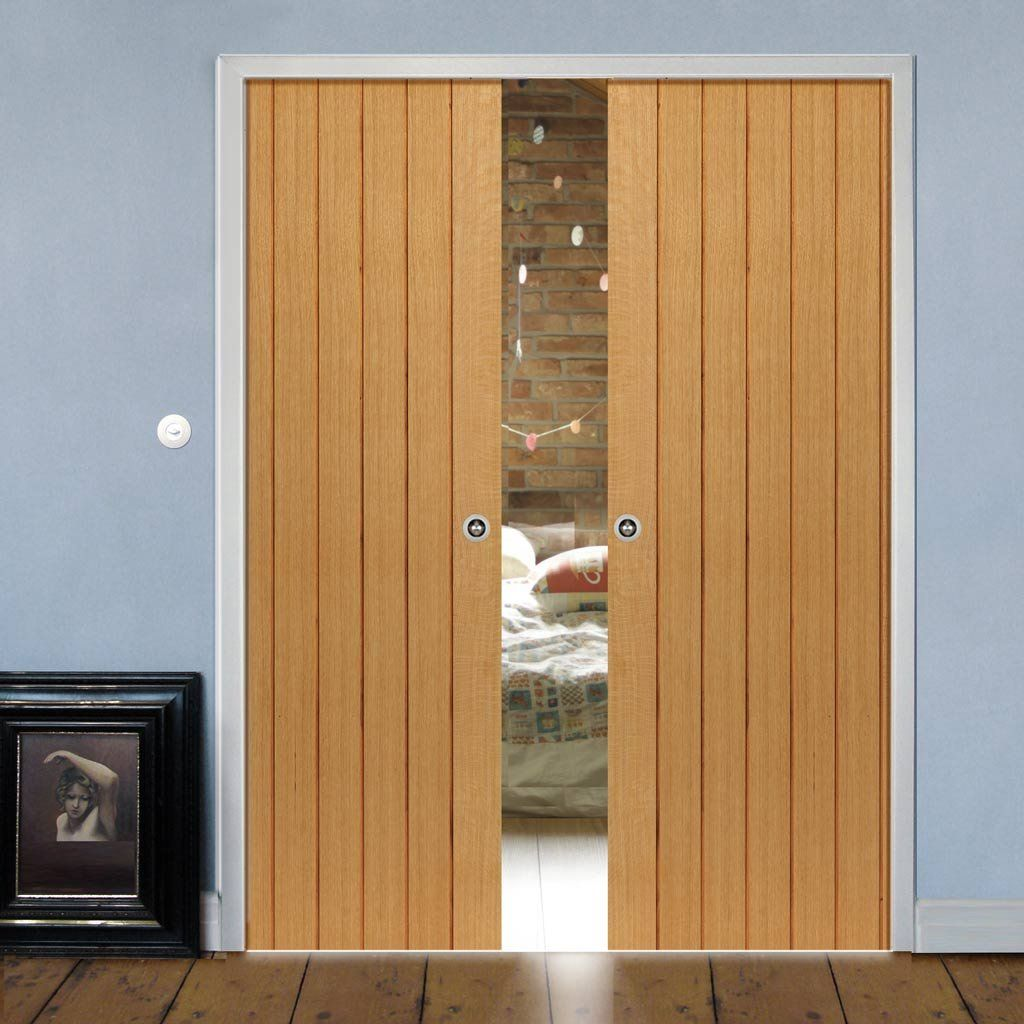 Double Pocket River Cottage Oak Cherwell sliding door system in three size widths. #oakpocketdoors & River Cottage Cherwell Oak Double Pocket Doors - Prefinished   River ...