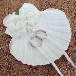 Natural Shell Beach Wedding Ring Holder Bearer Pillow Box Cushion