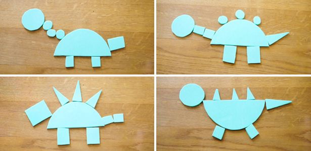 Ratzfatz habt ihr die Formen ausgeschnippelt und dann könnt ihr nach Belieben eure Fantasie-Dinos zusammenstellen!
