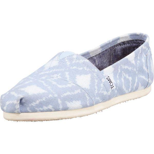 TOMS Ikat Slip-On Shoe, Blue/White ($40) ❤ liked on Polyvore featuring shoes, flats, toms, toms flats, toms shoes, blue flat shoes, white flats and blue flats
