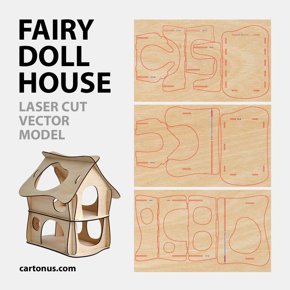 fairy doll house. vector model for laser cut. instant