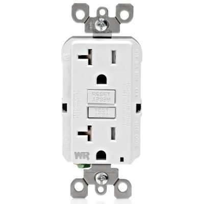 Leviton 20 Amp 125 Volt Duplex Self Test Tamper Resistant Weather Resistant Gfci Outlet White R92 Gfwt2 0kw The Home Depot Leviton Gfci Weather Resistant