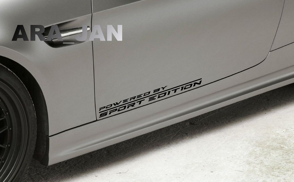 Powered By Sport Edition Racing Sport Vinyl Decal Sticker Logo Emblem Black Pair Ebay Sports Vinyl Decals Sports Car Racing Racing Stickers