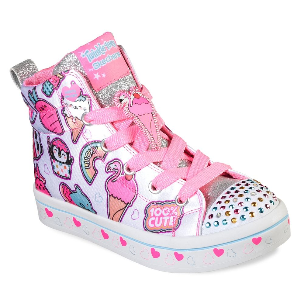 Details about Skechers Twinkle Breeze 2.0 Character Cutie Trainers Girls Glitter Light Up Shoe